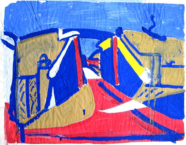 The Bridge, Woodcut-blue test,1982