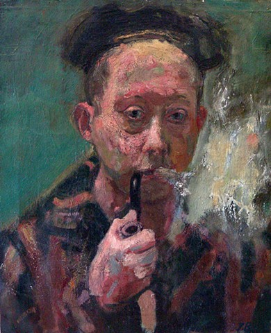 Early Self Portrait with pipe and beret.