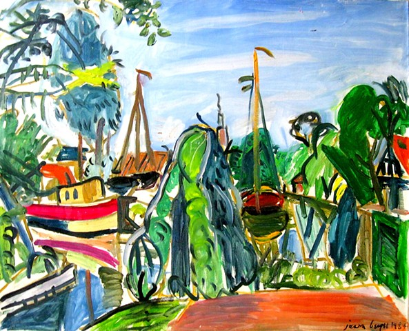 Oil painting of The Boatyard of Edam is one of the first of this series