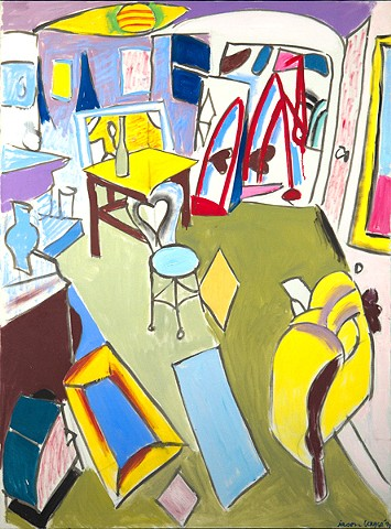 Purple and Yellow Studio with Boatyard Red Rake, 1990
