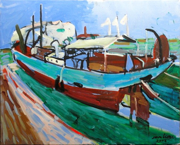 Boat, Three White Flags, 2002