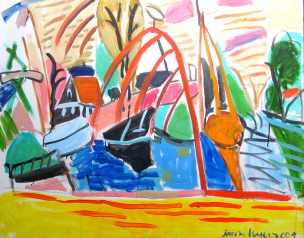Boatyard of Edam -Yellow and Red, 2005