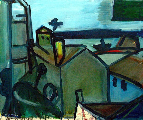 Lisbon Harbor, Gray with Yellow Chimney, 1986
