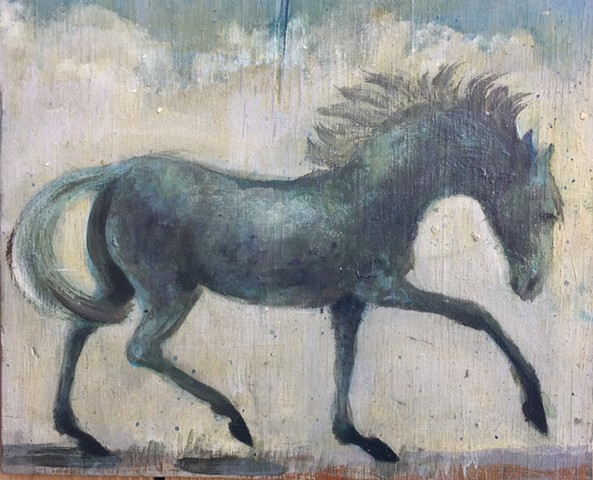 horse art, equestrian oil painting on wood