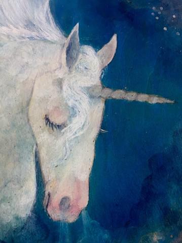 horse art, equestrian, unicorn, fantasy art, oil painting on wood, oval