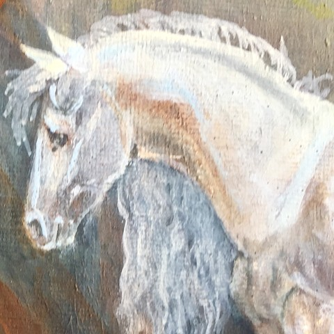 horse art, equestrian oil painting on canvas panel