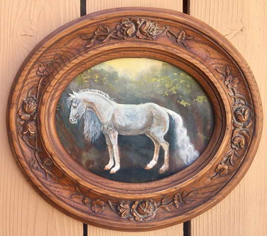 horse art, equestrian oil painting on canvas panel, framed art