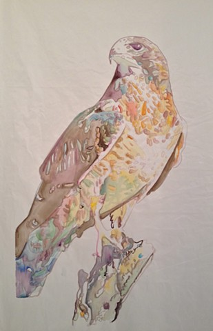 Animal Banner, watercolor on non-opaque fabric