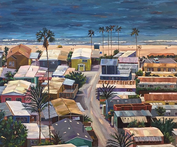 mobile home, Modern art, beach painting, villa, village, tinyhouse, landscape painting, tiny house, coastal living, palm tree painting, trailer park, Tahitian Terrace, Pacific Palisades, California, PCH, modern art, landscape painting, americana, trailer