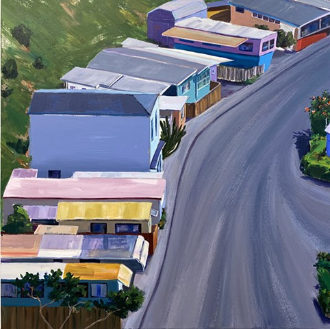 Neighborhood, beach painting, route66, colorful houses, modern art, California architecture, beach painting, mobile home park, mobile home park investor, real estate investors, inverstor, California art collector, prefab, mid century modern