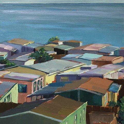 mobile home, Americana, Americanwest, cottage, beach painting, tiny housecoastalrealestate, beach houses, tinyhouse, landscape painting, tiny house, coastal living, palm tree painting, trailer park, Tahitian Terrace, Pacific Palisades, California, PCH, mo