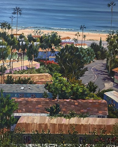 mobile home, Pacific Palisades, contemporary painting, PCH, art collector, beach painting, villa, village, tinyhouse, landscape painting, tiny house, coastal living, palm tree painting, trailer park, Tahitian Terrace, Pacific Palisades, California, PCH, m