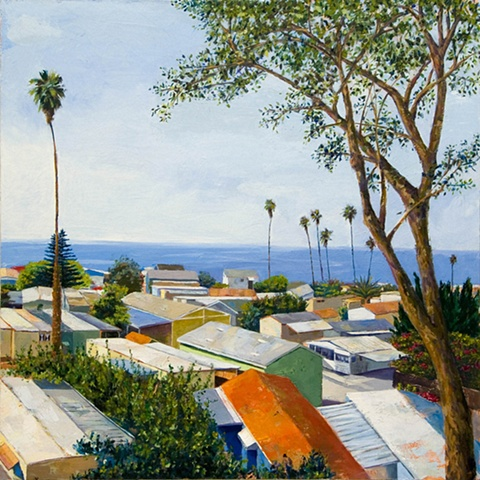 Trailer park, california, PCH, beach, Palisades, Ocean Art, mobile home art, paintings of mobile homes