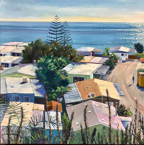 mobile home, 90272, Los Angeles, painting of Los Angeles, Pacific coast, trailer park, beach house, malibu
