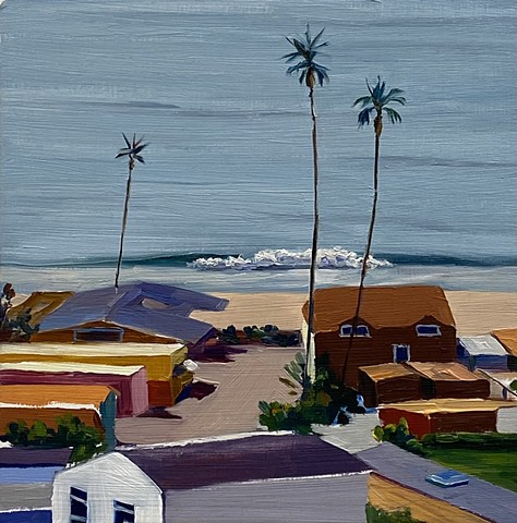 Oil painting depicting a mobile home park along the coast of California. The crashing waves and swaying palm trees bring the viewer right into the hang loose, beachy vibe of living along the coast.