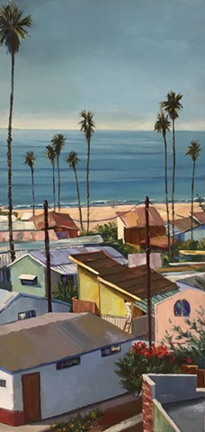 mobile home, beach houses, landscape painting, coastal living, palm tree painting, trailer park, Tahitian Terrace, Pacific Palisades, California, PCH, modern art, landscape painting, americana, trailer park,