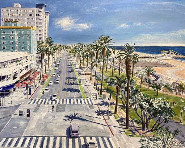 #SantaMonica #oceanavenue #travelcalifornia #palmtreepainting #cityscape #coastaldecor