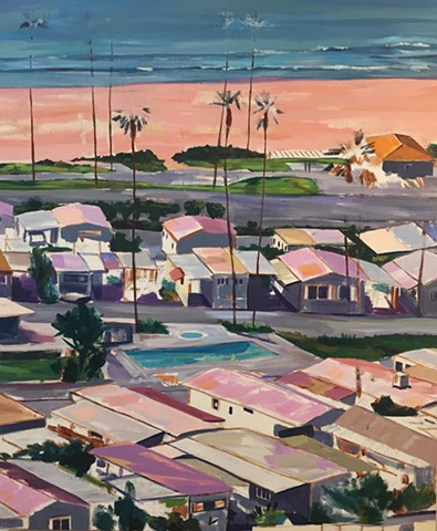 mobile home, beach painting, villa, village, mobile home investor, route66, tinyhouse, landscape painting, tiny house, coastal living, palm tree painting, trailer park, Tahitian Terrace, Pacific Palisades, California, PCH, modern art, landscape painting,
