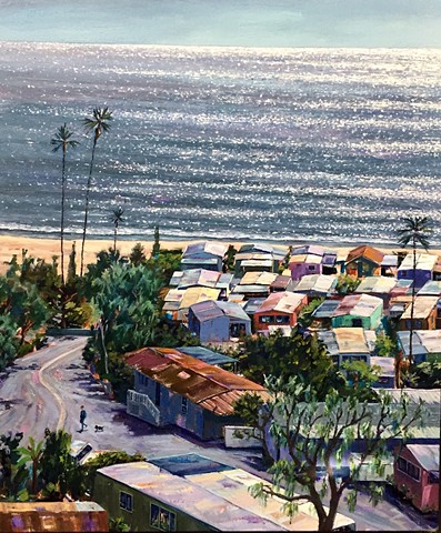 mobile home, beach painting, cottage, beach houses, Americana, american west, tinyhouse, landscape painting, tiny house, coastal living, palm tree painting, trailer park, Tahitian Terrace, Pacific Palisades, California, PCH, modern art, landscape painting