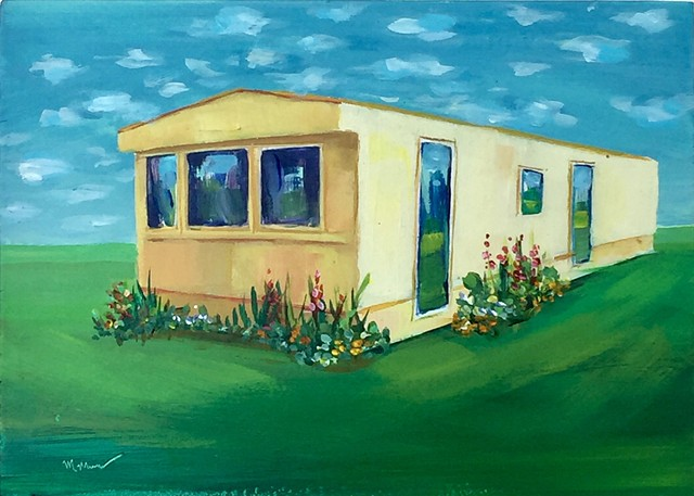 mobile home, beach houses, Americana, americanwest, tinyhouse, landscape painting, tiny house, coastal living, palm tree painting, trailer park, Tahitian Terrace, Pacific Palisades, California, PCH, modern art, landscape painting, americana, trailer park,