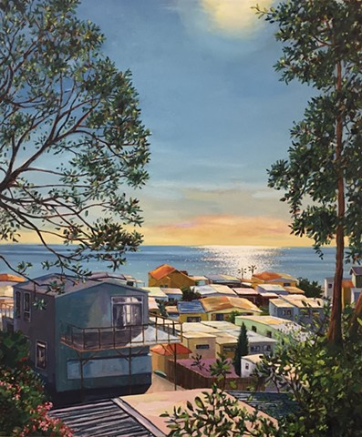 mobile home, beach houses, Americana, american west, tiny house, landscape painting, tiny house, coastal living, palm tree painting, trailer park, Tahitian Terrace, Pacific Palisades, California, PCH, modern art, landscape painting, americana, trailer par