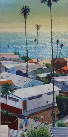trailer park, beach painting, tiny house, california, PCH, beach, Palisades, Ocean, mobil home, PCH, california mobile home, vintage airstream, Los Angeles,