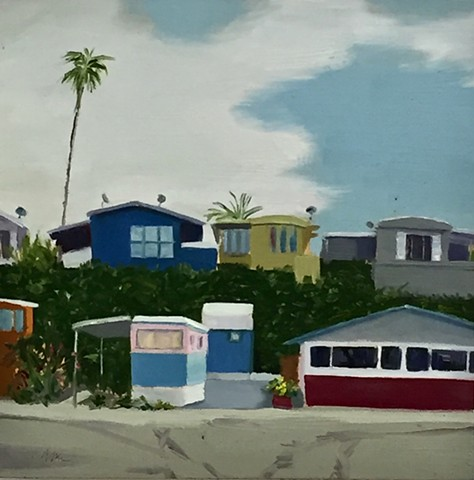 mobile home, Americana, Americanwest, coastalrealestate, beach houses, tinyhouse, landscape painting, tiny house, coastal living, palm tree painting, trailer park, Tahitian Terrace, Pacific Palisades, California, PCH, modern art, landscape painting, ameri