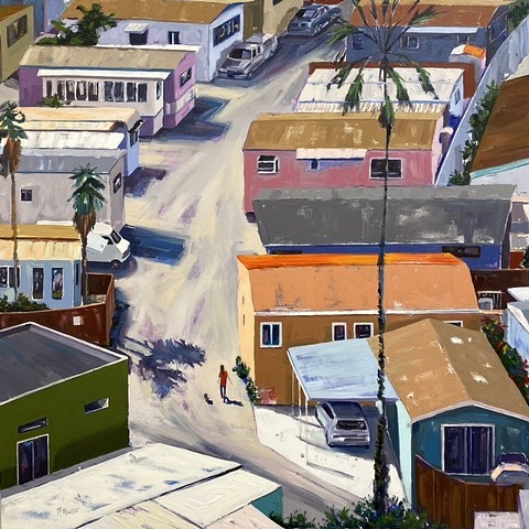 Mobile home park investment on the water in California. An oil painting of a neighborhood early in the morning filled with light and shadows put the viewer right in the moment.