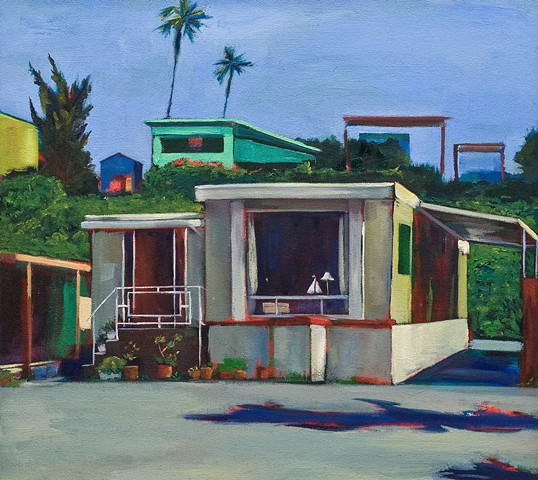mobile home, beach houses, coastal living, palm tree painting, trailer park, Tahitian Terrace, Pacific Palisades, California Coast, PCH, trailer park,