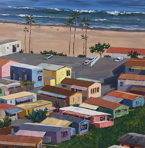 mobile home, beach houses, cottage, Americana, americanwest, tinyhouse, landscape painting, tiny house, coastal living, palm tree painting, trailer park, Tahitian Terrace, Pacific Palisades, California, PCH, modern art, landscape painting, americana, trai