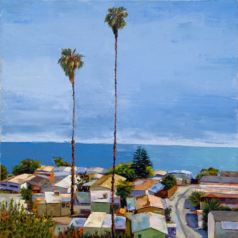 #mobile home, #90272, Los Angeles, #painting of Los Angeles, Pacific coast, #trailer park, #beach house, #malibu, #90272, Palisades, #oil painting, #water painting, #palm trees, #houses