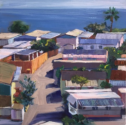 mobile home, beach houses, tinyhouse, landscape painting, tiny house, coastal living, palm tree painting, trailer park, Tahitian Terrace, Pacific Palisades, California, PCH, modern art, landscape painting, americana, trailer park,