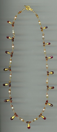 Spinel and Akoya Pearls with 24kt. Gold