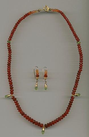 Mexican Cherry Opal Peridot 24kt. Gold