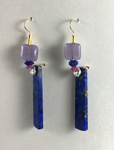 Lapis Lazuli Chinese Freshwater Pearl Ruby Gem Lithium Silica 24kt. Gold 14kt. Gold