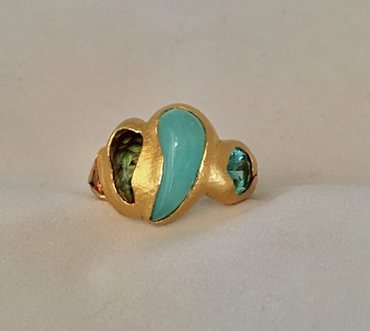 Peruvian Opal Fire Agate Spessartine Garnet Tourmaline 24kt. Gold