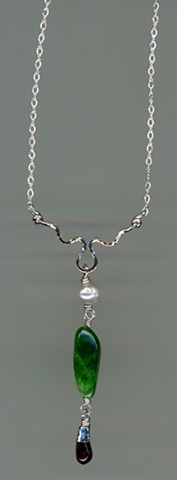 Tsavorite Garnet Freshwater Pearl Star Dioptase Sterling Silver