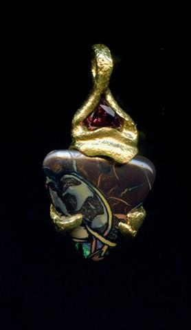 Matrix Opal Tourmaline 24kt. Gold