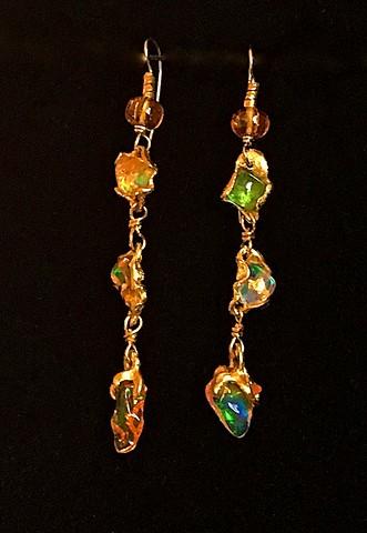 Mexican Opal Tsavorite Garnet Spessartine Garnet 24kt. Gold