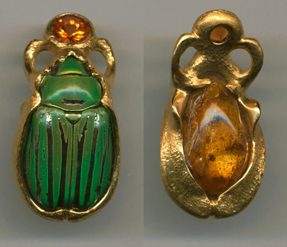Scarab with Spessartine Garnet and 24kt. Gold(front)