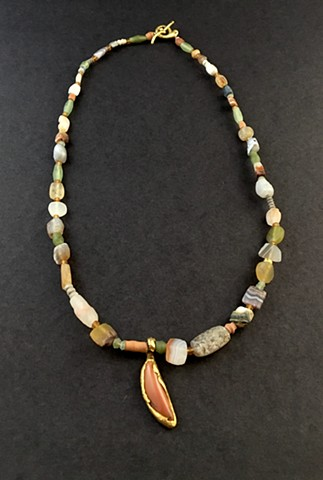 Antique Bactrian Agates Antique Egyptian Clay Burial Beads Afghani Jade Jasper 24kt. Gold 22kt. Gold