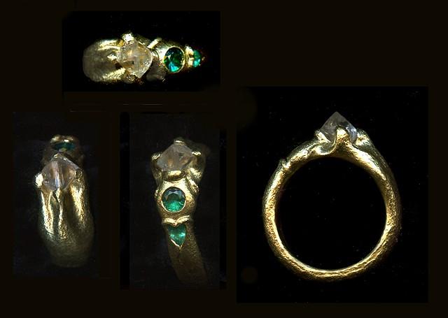 Natural Diamond Crystal Paraiba Tourmaline 24kt. Gold