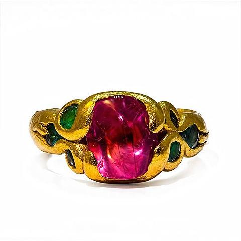 Pink Sapphire Paraiba Tourmaline 24kt. Gold
