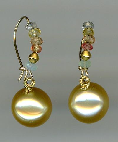Golden Pearl Sapphire Peruvian Opal 24kt. Gold