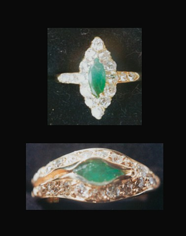Grandma's Jade and Diamond Very Worn Ring Remade to be able to wear with  Sentimental Wedding Band 14kt. Gold