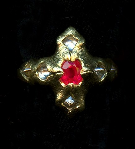 Ruby Diamond Crystals 24kt. Gold
