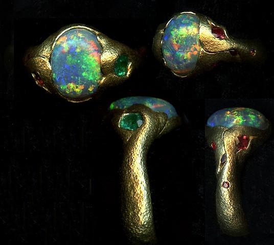 Australian Opal Ruby Spinel Garnet Paraiba Tourmaline 24kt. Gold