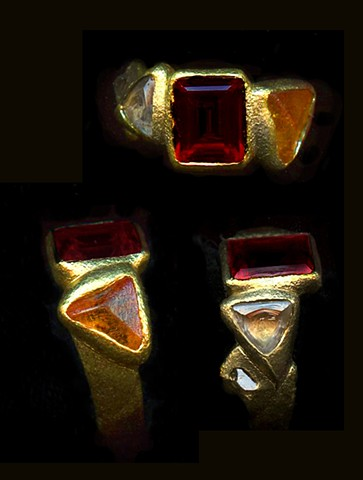 Garnet Spessartine Garnet Diamond Crystal 24kt. Gold