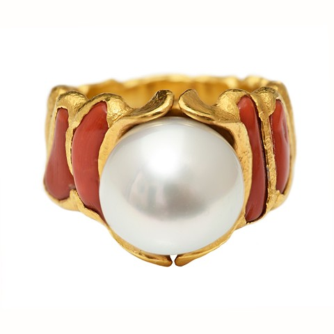 Freshwater Pearl Antique Red Coral 24kt. Gold