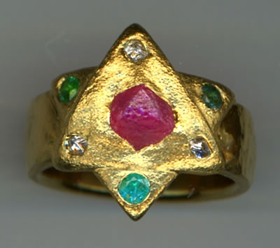 Natural Ruby Crystal, Natural Diamond Crystals and Paraiba Tourmaline with 24kt. Gold